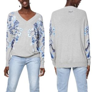 Desigual Jers Louth Floral V Neck Sweater M